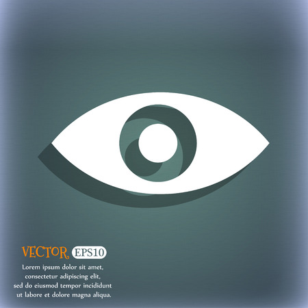 sixth sense: Eye, Publish content, sixth sense, intuition  icon symbol on the blue-green abstract background with shadow and space