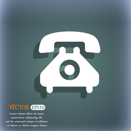 cordless phone: retro telephone handset icon symbol on the blue-green abstract background with shadow and space