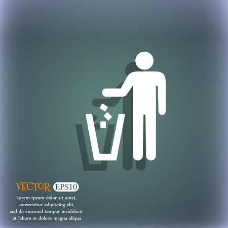 throw away the trash icon symbol on the blue-green abstract background with shadow and space Banco de Imagens - 43397907