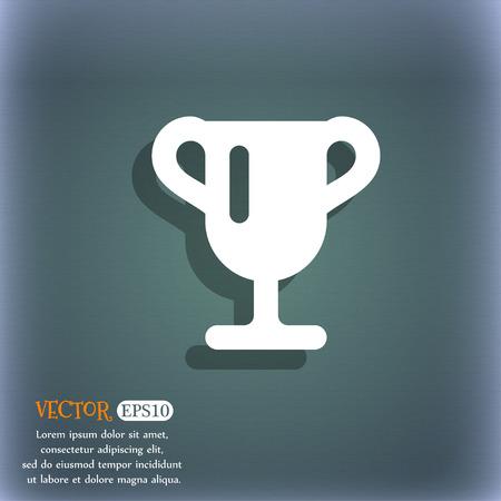 awarding: Winner cup, Awarding of winners, Trophy  icon symbol on the blue-green abstract background with shadow and space