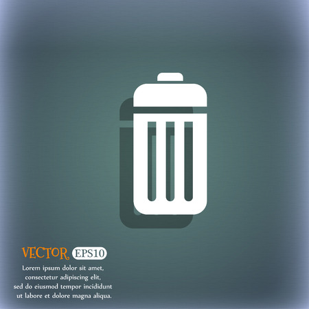 local supply: The trash icon symbol on the blue-green abstract background with shadow and space