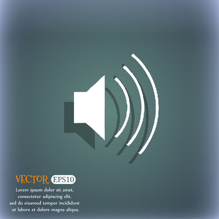 bluegreen: volume, sound icon symbol on the blue-green abstract background with shadow and space