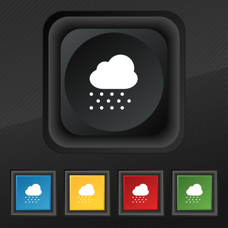 forecasting: snowing  icon symbol. Set of five colorful, stylish buttons on black texture Illustration