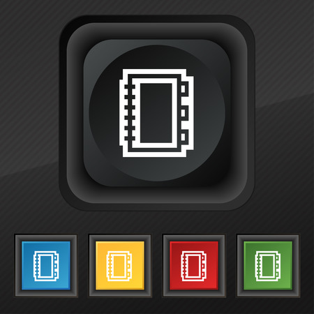 epublishing: Book icon symbol. Set of five colorful, stylish buttons on black texture
