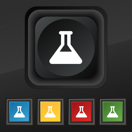 conical: Conical Flask icon symbol. Set of five colorful, stylish buttons on black texture
