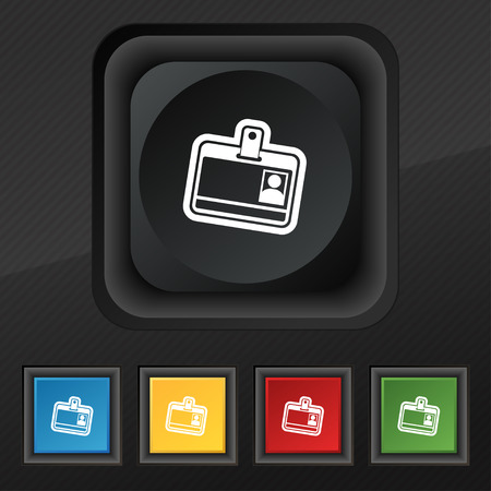 recognizing: Id card icon symbol. Set of five colorful, stylish buttons on black texture Illustration