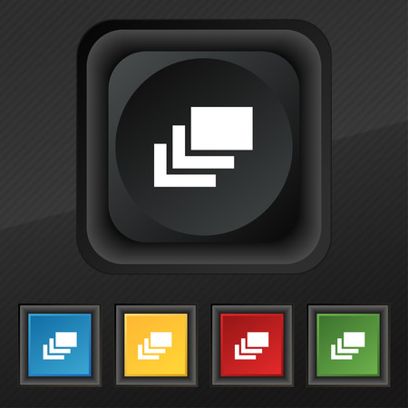 layers: Layers icon symbol. Set of five colorful, stylish buttons on black texture Illustration