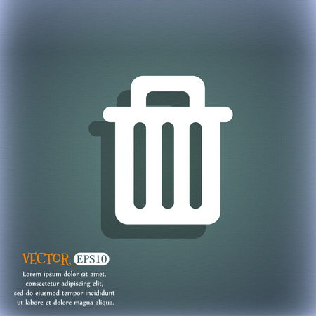 litter bin: Recycle bin icon symbol on the blue-green abstract background with shadow and space