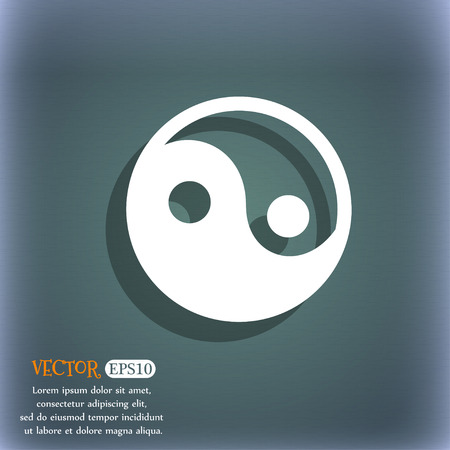daoism: Ying yang icon symbol on the blue-green abstract background with shadow and space