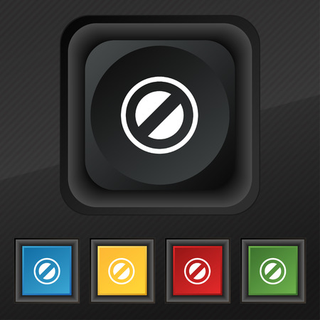 delay: Cancel icon symbol. Set of five colorful, stylish buttons on black texture