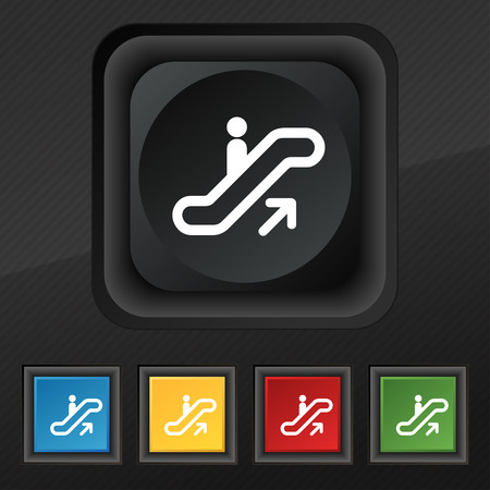 electronic guide: elevator, Escalator, Staircase icon symbol. Set of five colorful, stylish buttons on black texture
