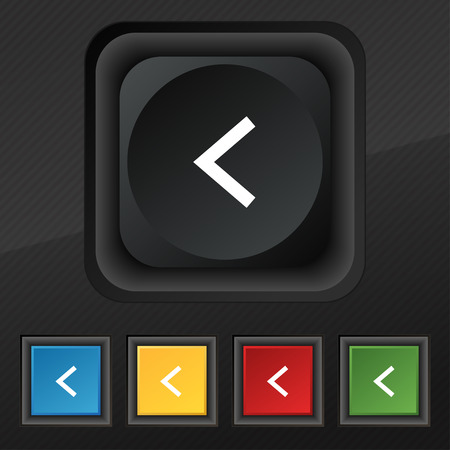 way out: Arrow left, Way out icon symbol. Set of five colorful, stylish buttons on black texture