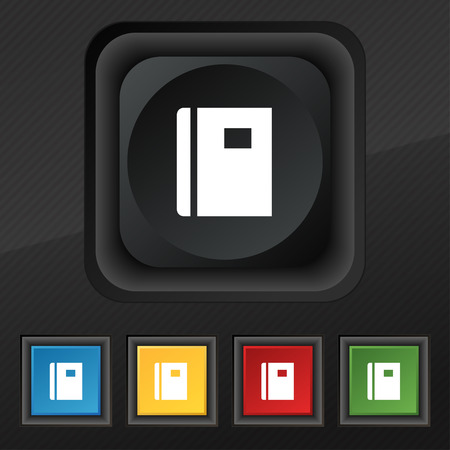 reading app: Book icon symbol. Set of five colorful, stylish buttons on black texture