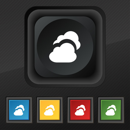 simplus: Cloud  icon symbol. Set of five colorful, stylish buttons on black texture