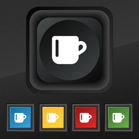 tasse caf�: tasse de caf� ou de th� symbole de l'ic�ne. Ensemble de cinq touches color�es, �l�gantes sur la texture noire