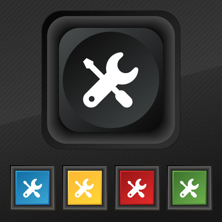 trackpad: screwdriver, key, settings icon symbol. Set of five colorful, stylish buttons on black texture Illustration