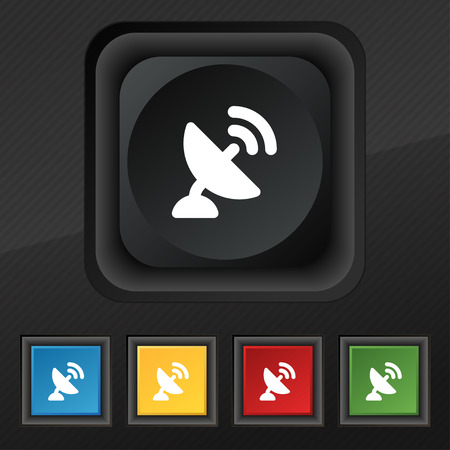 high speed internet: satellite antenna icon symbol. Set of five colorful, stylish buttons on black texture