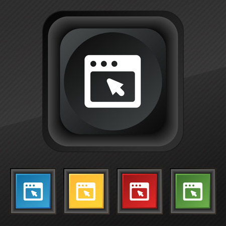 dialog box: the dialog box icon symbol. Set of five colorful, stylish buttons on black texture