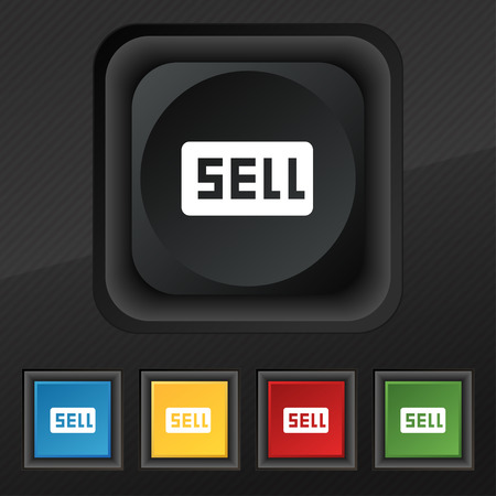 earnings: Sell, Contributor earnings  icon symbol. Set of five colorful, stylish buttons on black texture