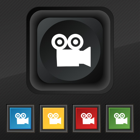 journalistic: video camera icon symbol. Set of five colorful, stylish buttons on black texture