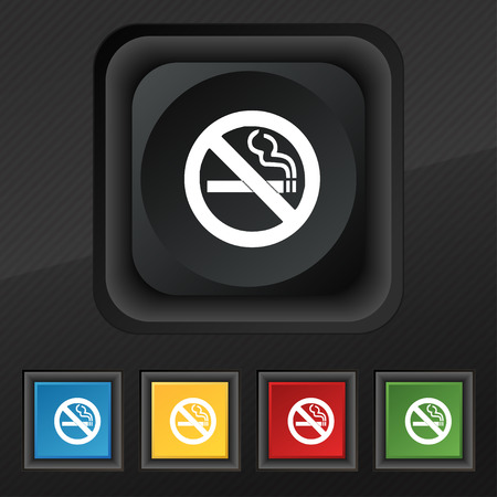 smoldering cigarette: no smoking icon symbol. Set of five colorful, stylish buttons on black texture for your design. Vector illustration