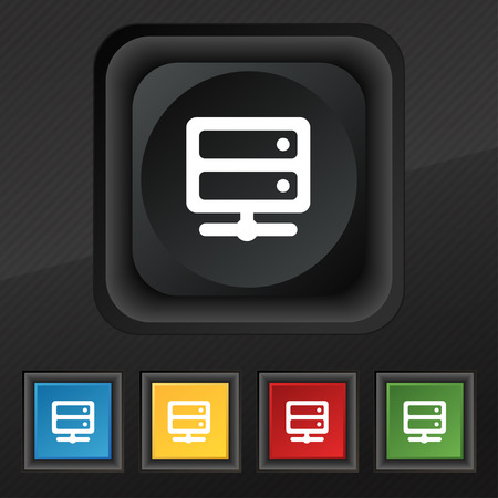 raid: Server icon symbol. Set of five colorful, stylish buttons on black texture