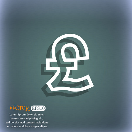 foreign currency: Pound Sterling icon symbol on the blue-green abstract background with shadow and space