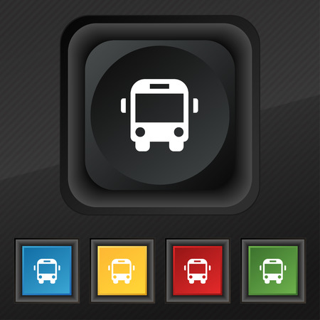 schoolbus: Bus icon symbol. Set of five colorful, stylish buttons on black texture
