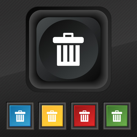 refuse bin: Recycle bin icon symbol. Set of five colorful, stylish buttons on black texture Illustration