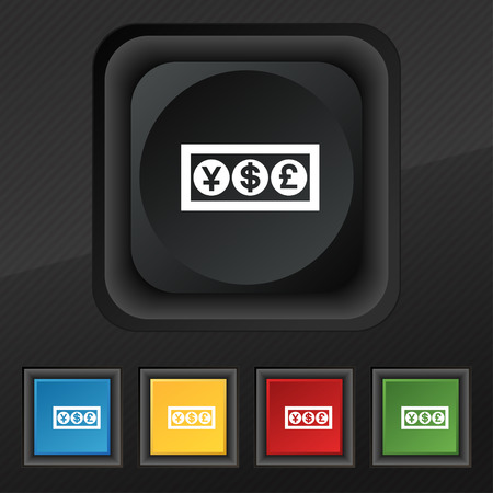 currency converter: Cash currency icon symbol. Set of five colorful, stylish buttons on black texture