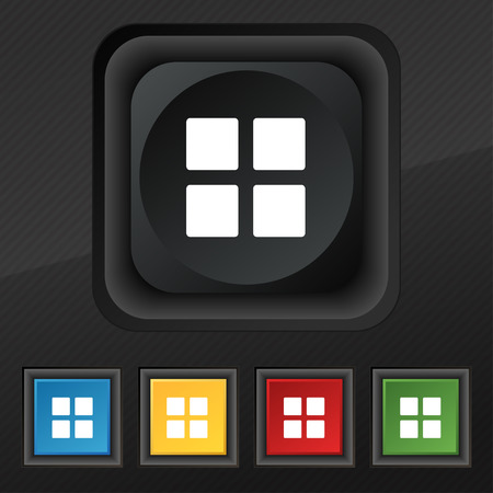 menu icon: List menu, Content view options  icon symbol. Set of five colorful, stylish buttons on black texture Illustration