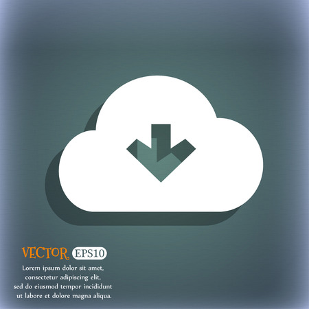 bluegreen: Download from cloud icon symbol on the blue-green abstract background with shadow and space