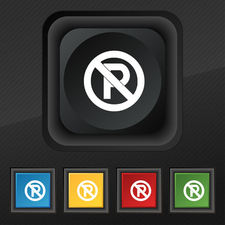 No parking icon symbol. Set of five colorful, stylish buttons on black texture Vettoriali