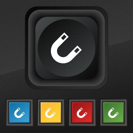 electromagnetism: magnet, horseshoe icon symbol. Set of five colorful, stylish buttons on black texture Illustration