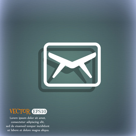 bluegreen: Mail, Envelope, Message icon symbol on the blue-green abstract background with shadow and space