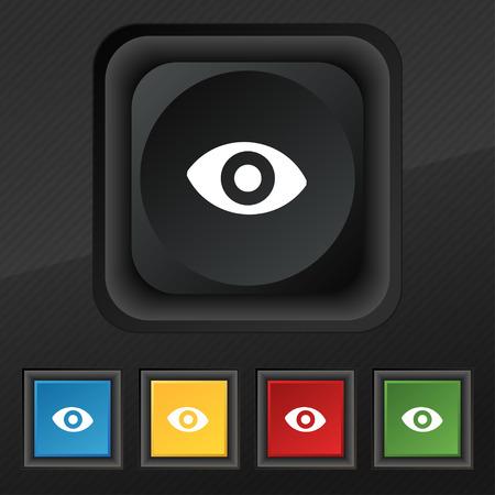 sixth sense: sixth sense, the eye icon symbol. Set of five colorful, stylish buttons on black texture