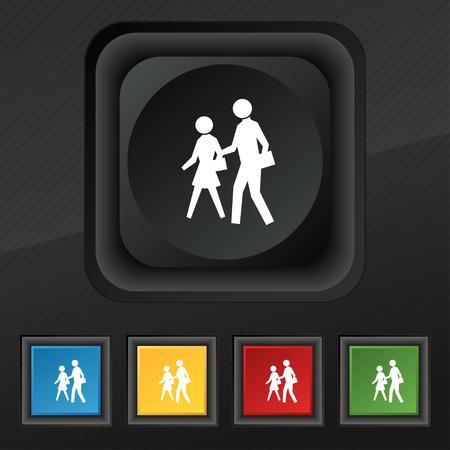 passage clout�: passage pour pi�tons symbole de l'ic�ne. Ensemble de cinq touches color�es, �l�gantes sur la texture noire