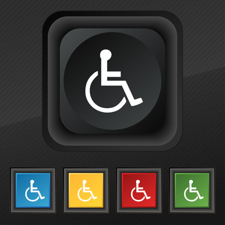 paralyze: disabled icon symbol. Set of five colorful, stylish buttons on black texture