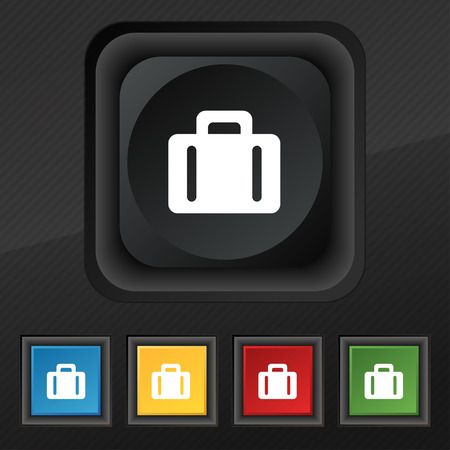 business suit: suitcase icon symbol. Set of five colorful, stylish buttons on black texture Illustration