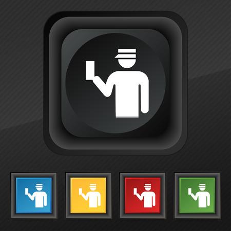 kontrolleur: Inspector Symbol Symbol. Set von f�nf bunten, stilvoll-Schaltfl�chen auf schwarzem Textur