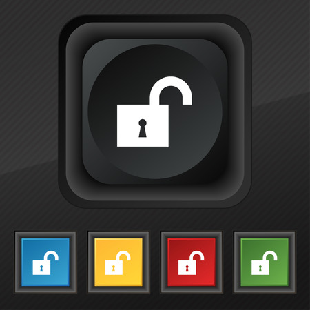 oldish: open lock icon symbol. Set of five colorful, stylish buttons on black texture
