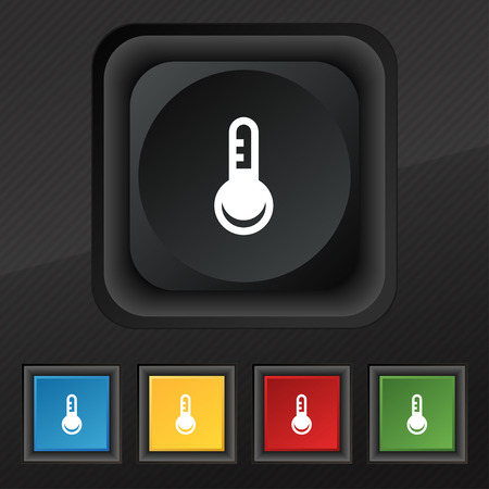 hotness: Thermometer, Temperature icon symbol. Set of five colorful, stylish buttons on black texture