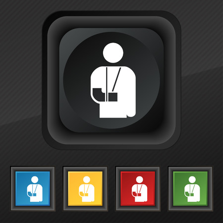 blind dog: broken arm, disability icon symbol. Set of five colorful, stylish buttons on black texture