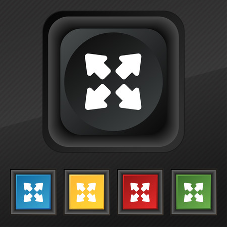 screen size: Deploying video, screen size  icon symbol. Set of five colorful, stylish buttons on black texture