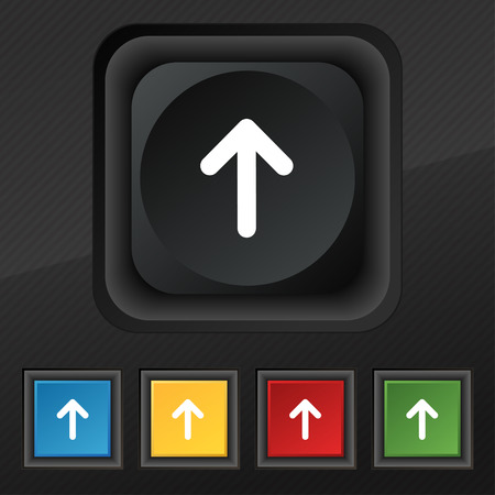 this side up: Arrow up, This side up icon symbol. Set of five colorful, stylish buttons on black texture