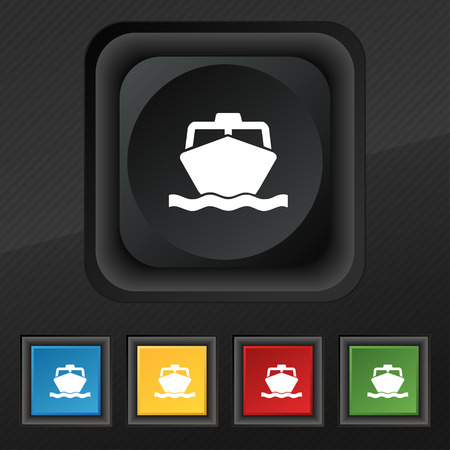 inflate boat: the boat icon symbol. Set of five colorful, stylish buttons on black texture