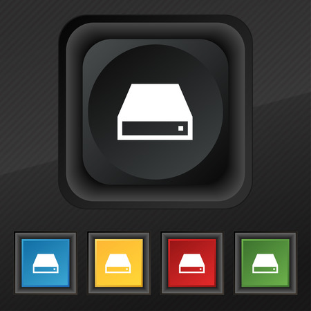 cdrom: CD-ROM icon symbol. Set of five colorful, stylish buttons on black texture