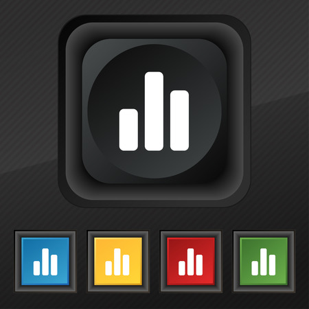 upturn: Growth and development concept. graph of Rate icon symbol. Set of five colorful, stylish buttons on black texture