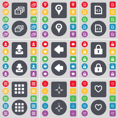 checkpoint: Gallery, Checkpoint, Document, Avatar, Arrow left, Lock, Apps, Compass, Heart icon symbol. A large set of flat, colored buttons for your design. Vector illustration