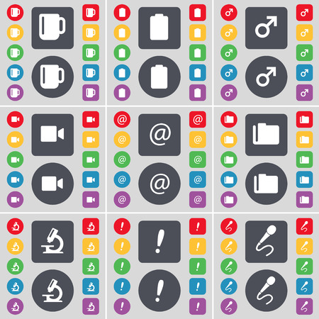camera film: Cup, Battery, Mars symbol, Film camera, Mail, Folder, Microscope, Exclamation, Microphone icon symbol. A large set of flat, colored buttons for your design. Vector illustration Illustration